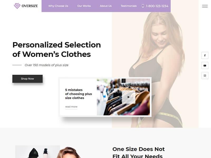 Oversize Free Fashion HTML Website Template