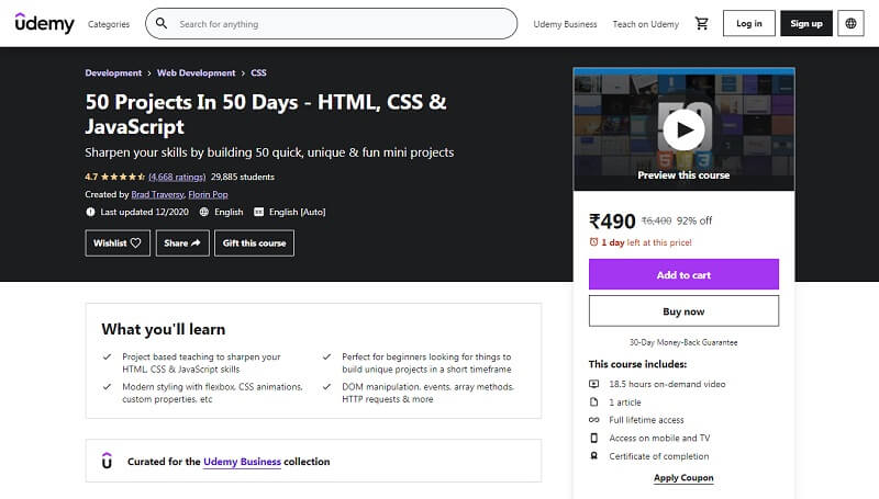 50 Projects in 50 Days by Udemy
