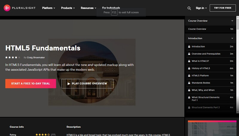 HTML Course For Beginners by Pluralsight