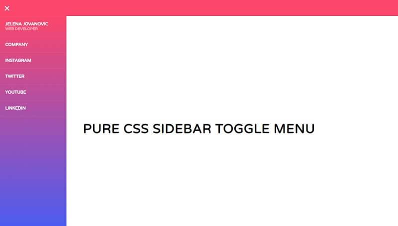Pure CSS Sidebar Toggle Menu