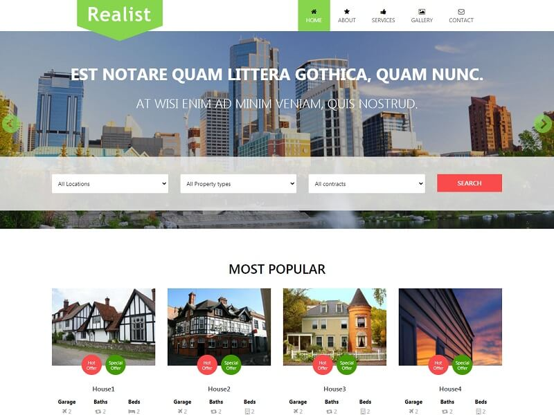 Realist Free HTML Template For Real Estate