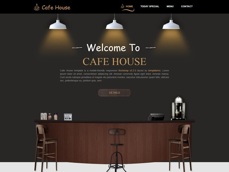 Cafe House Free Restaurant HTML Template
