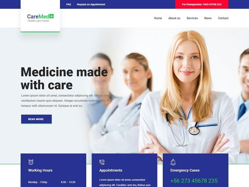 CareMed Free Medical  Website Template