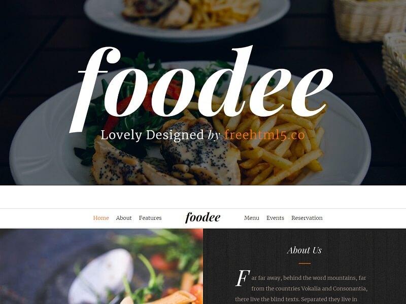 Foodee Free Restaurant HTML Template
