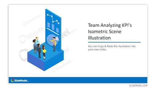 Team Analyzing KPIs Isometric Scene Illustration