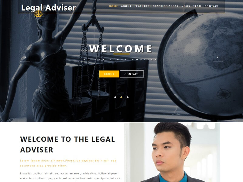 Legal Adviser Lawyer HTML Website Template