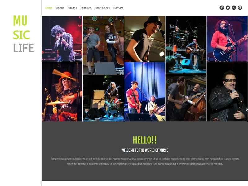 Music Life Free HTML Template